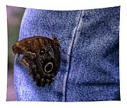 Owl Butterfly On Jeans Tapestry