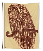 Owl Pencil Sketch Tapestry