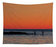 Paddleboarding Pairs - Mackinzie Beach Sunset Tapestry
