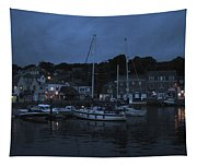 Padstow Harbor At Night Tapestry