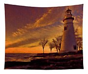 Painted Marblehead Lighthouse Tapestry