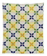 Painted Patterns - Floral Azulejo Tiles In Blue Green And Yellow Tapestry