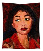 Painting Of A Dark Haired Girl Commissioned Art Tapestry