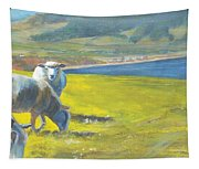 Painting Of Sheep On A Cliff Top Tapestry