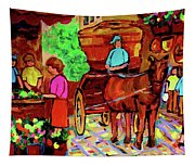 Paintings Of Montreal Streets Old Montreal With Flower Cart And Caleche By Artist Carole Spandau Tapestry