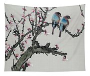 Pair Of Birds On A Cherry Branch Tapestry