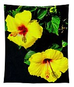 Pair Of Golden Hibiscus In Morning Sun Tapestry