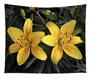 Pair Of Yellow Lilies Tapestry