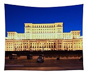 Palace Of Parliament At Night Tapestry