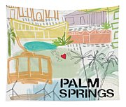 Palm Springs Cityscape- Art By Linda Woods Tapestry