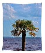 Palm Tree By The Lake Tapestry
