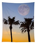 Palm Tree Full Moon Sunset Tapestry