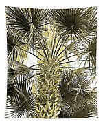 Palm Tree Pen And Ink Grayscale With Sepia Tones Tapestry