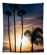 Palm Tree Sunset Silhouette Tapestry