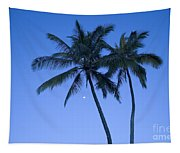 Palms And Blue Sky Tapestry