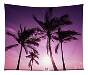 Palms And Pink Sunset Tapestry