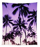 Palms And Purple Sky Tapestry