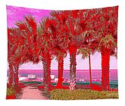 Palms In Red Tapestry