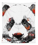 Panda Bear Art - Black White Red - By Sharon Cummings Tapestry