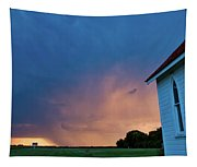 Panoramic Lightning Storm And Church Tapestry