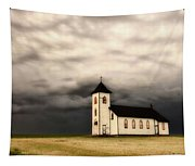 Panoramic Lightning Storm And Prairie Church Tapestry