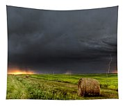 Panoramic Lightning Storm In The Prairies Tapestry