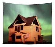 Panoramic Prairie Northern Lights And House Tapestry