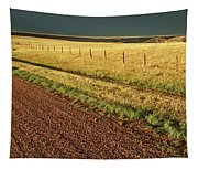 Panoramic Prairie Storm Canada At Sunset Tapestry