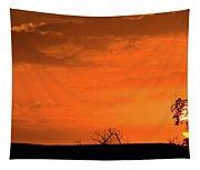 Panoramic Prairie Sunset Tapestry