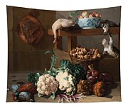 Pantry With Artichokes Cauliflowers And A Basket Of Mushrooms Tapestry