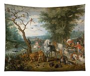 Paradise Landscape With Animals Tapestry