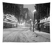 Paramount Snowstorm Boston Ma Washington Street Black And White Tapestry