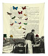 Inside Of A French Bistro At Paris And Rainbow Butterflies Tapestry by Madame Memento