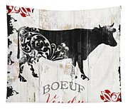 Paris Farm Sign Cow Tapestry