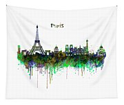 Paris Skyline Watercolor Tapestry