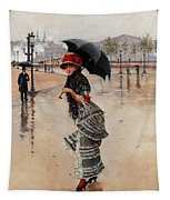 Parisienne On A Rainy Day Tapestry