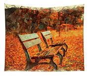 Park Bench In Fall Tapestry