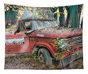 Parked On A Country Road Watercolors Painting Tapestry