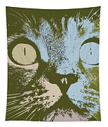 Pastel Cat Pop Art Tapestry by Shelli Fitzpatrick