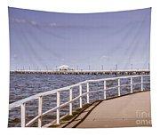 Pastel Tone Sea Pier Landscape Tapestry