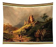 Path Next To The Ruins Of Belloque Castle L B With Decorative Ornate Printed Frame. Tapestry