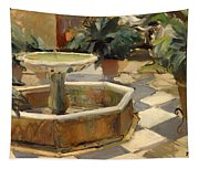 Patio Fountain In Seville Tapestry