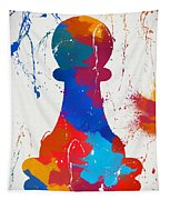 Pawn Chess Piece Paint Splatter Tapestry