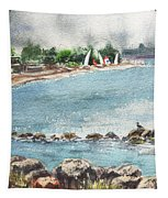 Peaceful Morning At The Harbor  Tapestry