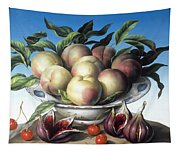 Peaches In Delft Bowl With Purple Figs Tapestry
