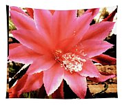 Peachy Pink Cactus Orchid Tapestry