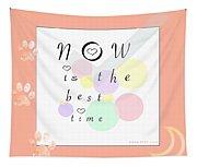 Peachy Pink Wabi Sabi Time Tapestry