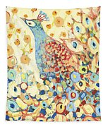 Peacock Hiding In My Poppy Garden Tapestry by Jennifer Lommers