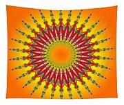 Peacock Sun Mandala Fractal Tapestry
