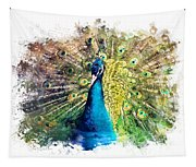 Peacock Watercolor Painting Tapestry